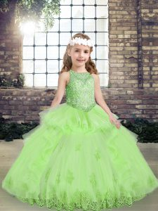 Sleeveless Tulle Floor Length Lace Up High School Pageant Dress in with Lace and Appliques