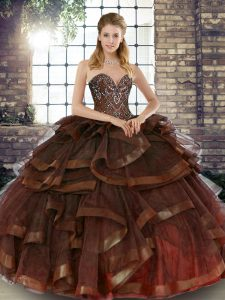 Fitting Brown Ball Gowns Tulle Sweetheart Sleeveless Beading and Ruffles Floor Length Lace Up Sweet 16 Quinceanera Dress