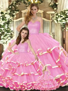 Fancy Rose Pink Lace Up Sweetheart Ruffled Layers Quinceanera Gown Organza Sleeveless