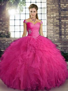 Hot Pink Tulle Lace Up Sweet 16 Quinceanera Dress Sleeveless Floor Length Beading and Ruffles