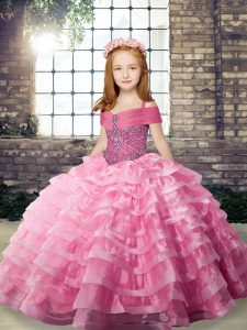 Organza Straps Sleeveless Brush Train Lace Up Beading and Ruffled Layers Pageant Gowns in Rose Pink