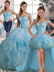Sexy Floor Length Lace Up Sweet 16 Dresses Light Blue for Military Ball and Sweet 16 and Quinceanera with Beading and Ruffles