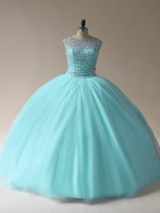 Comfortable Ball Gowns Quinceanera Gown Aqua Blue Scoop Tulle Sleeveless Floor Length Lace Up
