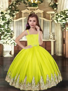 Tulle Sleeveless Floor Length Custom Made Pageant Dress and Embroidery