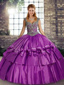 Fine Beading and Ruffled Layers Sweet 16 Dress Purple Lace Up Sleeveless Floor Length