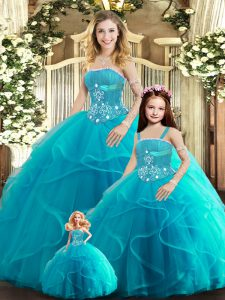 Super Aqua Blue Tulle Lace Up Quinceanera Dress Sleeveless Floor Length Beading and Ruffles