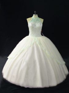 White Sweet 16 Quinceanera Dress Sweet 16 and Quinceanera with Beading Halter Top Sleeveless Lace Up