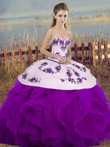 Ball Gowns Sweet 16 Dresses White And Purple Sweetheart Tulle Sleeveless Floor Length Lace Up