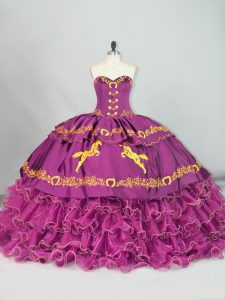 Purple Quinceanera Gown Sweetheart Sleeveless Brush Train Lace Up