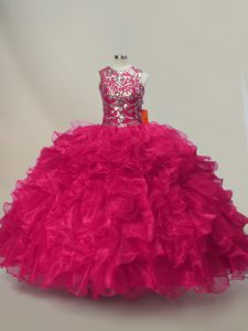 Glorious Sleeveless Lace Up Floor Length Ruffles and Sequins Sweet 16 Dresses