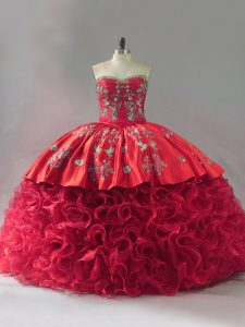 Fashionable Red Ball Gowns Sweetheart Sleeveless Fabric With Rolling Flowers Brush Train Lace Up Embroidery Vestidos de Quinceanera