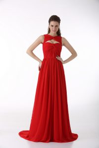Extravagant Red Sleeveless Brush Train Ruching Prom Gown