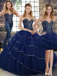 Best Selling Sleeveless Brush Train Lace Up Beading and Ruffled Layers Quinceanera Dresses