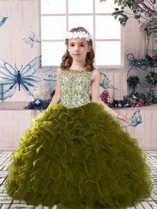 Great Olive Green Ball Gowns Tulle Scoop Sleeveless Beading and Ruffles Floor Length Lace Up Pageant Dress
