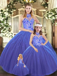 Modest Blue Sleeveless Embroidery Lace Up Vestidos de Quinceanera