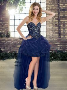 Fabulous Sweetheart Sleeveless Dress Like A Star High Low Beading and Ruffles Navy Blue Tulle