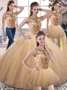 Glamorous Floor Length Lace Up 15 Quinceanera Dress Gold for Military Ball and Sweet 16 and Quinceanera with Beading