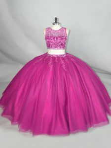 Pretty Fuchsia Tulle Zipper Scoop Sleeveless Floor Length Sweet 16 Dresses Beading