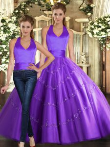 Custom Design Floor Length Purple Quinceanera Gowns Halter Top Sleeveless Lace Up