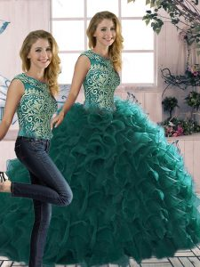 Excellent Sleeveless Floor Length Beading and Ruffles Lace Up Quinceanera Gown with Peacock Green