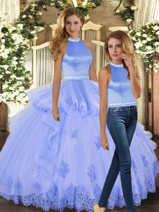 Lovely Two Pieces 15th Birthday Dress Lavender Halter Top Tulle Sleeveless Floor Length Backless