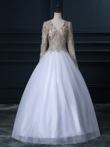 Tulle Long Sleeves Floor Length Wedding Dresses and Lace