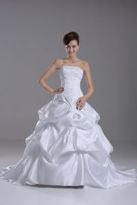 Pretty Taffeta Sleeveless Wedding Dresses Brush Train and Beading and Pick Ups