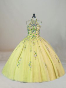 Fabulous Yellow Vestidos de Quinceanera Halter Top Sleeveless Brush Train Lace Up