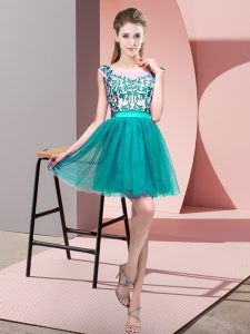 Dramatic Turquoise Tulle Zipper Quinceanera Court of Honor Dress Sleeveless Mini Length Lace