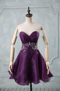 Discount Purple Sleeveless Mini Length Appliques and Ruching Lace Up Cocktail Dresses