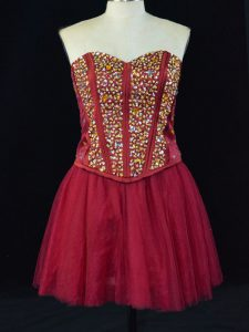 Wine Red Lace Up Dress for Prom Beading Sleeveless Mini Length