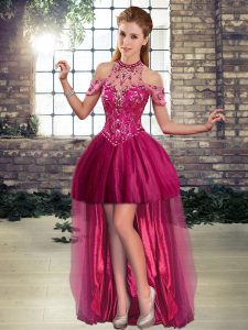 Elegant Halter Top Sleeveless High Low Beading Fuchsia Tulle