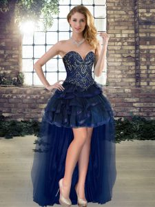Trendy Sleeveless High Low Beading and Ruffles Lace Up Homecoming Dress with Navy Blue