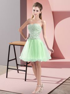 Sleeveless Tulle Mini Length Zipper Dress for Prom in Apple Green with Beading