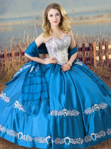 Flirting Satin Sweetheart Sleeveless Lace Up Beading and Embroidery Quinceanera Gowns in Baby Blue