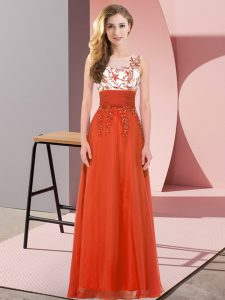 Captivating Rust Red Chiffon Backless Scoop Sleeveless Floor Length Quinceanera Court Dresses Appliques
