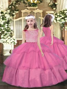 Organza Sleeveless Floor Length Girls Pageant Dresses and Beading and Ruffled Layers