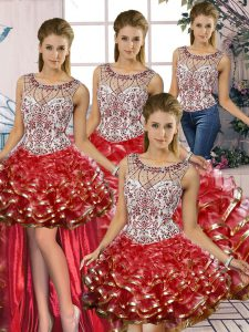 Red Organza Lace Up Sweet 16 Dress Sleeveless Floor Length Beading and Ruffles