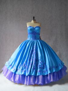 Luxurious Satin and Organza Sweetheart Sleeveless Lace Up Embroidery 15th Birthday Dress in Blue