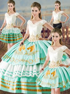 Elegant Apple Green Lace Up Quinceanera Gowns Embroidery and Ruffled Layers Sleeveless Floor Length