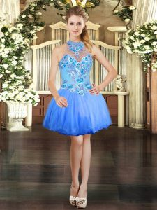 New Style Blue Ball Gowns Halter Top Sleeveless Tulle Mini Length Lace Up Embroidery Hoco Dress
