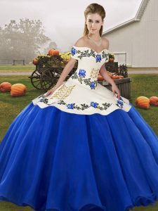 Embroidery and Ruffles Ball Gown Prom Dress Blue And White Lace Up Sleeveless Floor Length
