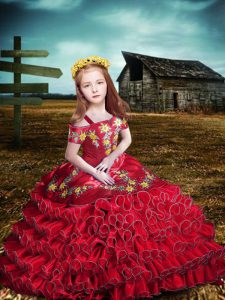 Fancy Ball Gowns Custom Made Pageant Dress Red Off The Shoulder Organza Short Sleeves Floor Length Lace Up