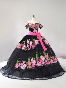 Colorful Brush Train Ball Gowns 15th Birthday Dress Black Off The Shoulder Tulle Sleeveless Lace Up