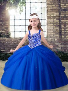 Floor Length Royal Blue Pageant Dress Straps Sleeveless Lace Up