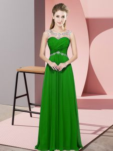 Graceful Green Empire Beading Backless Chiffon Sleeveless Floor Length