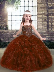 Floor Length Rust Red Pageant Dress Womens Straps Sleeveless Lace Up