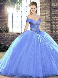 Glamorous Ball Gowns Sleeveless Lavender Quinceanera Dresses Brush Train Lace Up