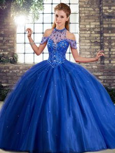 Fashion Ball Gowns Sleeveless Royal Blue Sweet 16 Dress Brush Train Lace Up