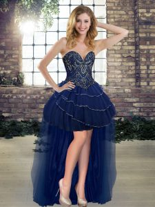 Navy Blue Tulle Lace Up Sleeveless High Low Beading and Ruffled Layers
